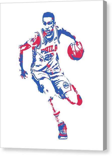 Philadelphia Sixers Canvas Print - Ben Simmons Philadelphia 76ers Pixel Art 20 by Joe Hamilton