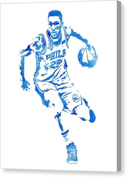 Philadelphia Sixers Canvas Print - Ben Simmons Philadelphia 76ers Water Color Pixel Art 1 by Joe Hamilton