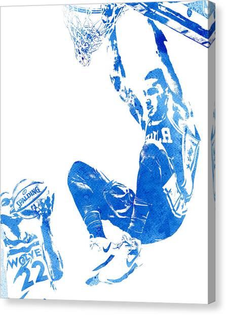Philadelphia Sixers Canvas Print - Ben Simmons Philadelphia 76ers Water Color Pixel Art 3 by Joe Hamilton