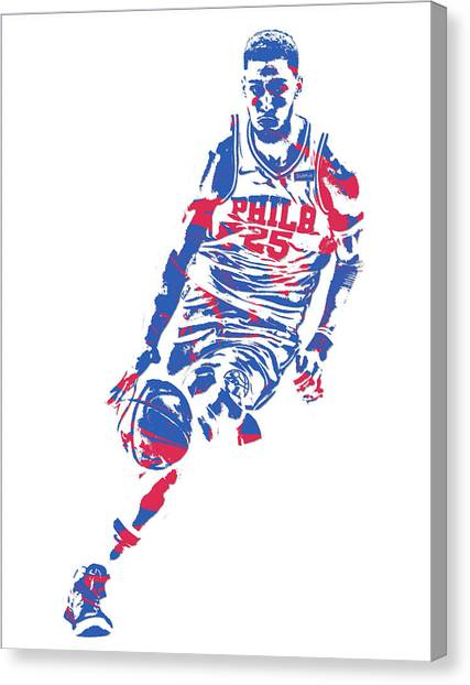 Philadelphia Sixers Canvas Print - Ben Simmons Philadelphia Sixers Pixel Art 1 by Joe Hamilton