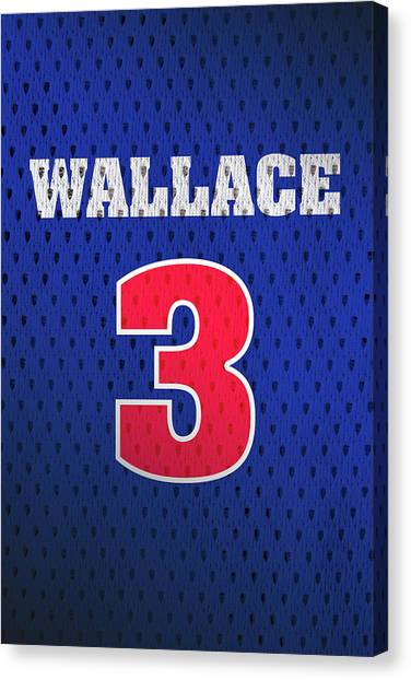 Detroit Pistons Canvas Print - Ben Wallace Detroit Pistons Number 3 Retro Vintage Jersey Closeup Graphic Design by Design Turnpike