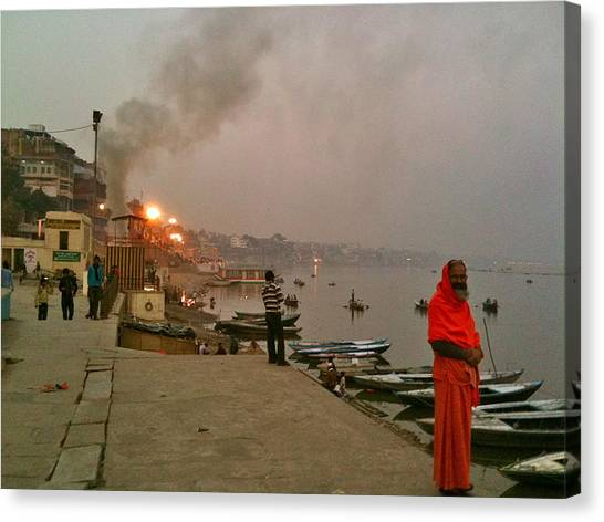 Ganges Canvas Print - Benares Ganges River At Dusk by Matt Mather