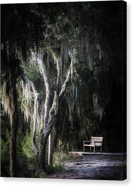 Bench At Sunset Canvas Print