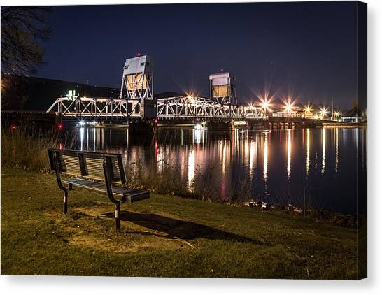 Bench In The Dark Canvas Print