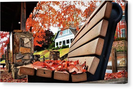 Bench Leaves Canvas Print