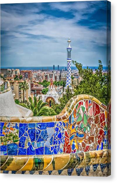 Bench Of Barcelona Canvas Print