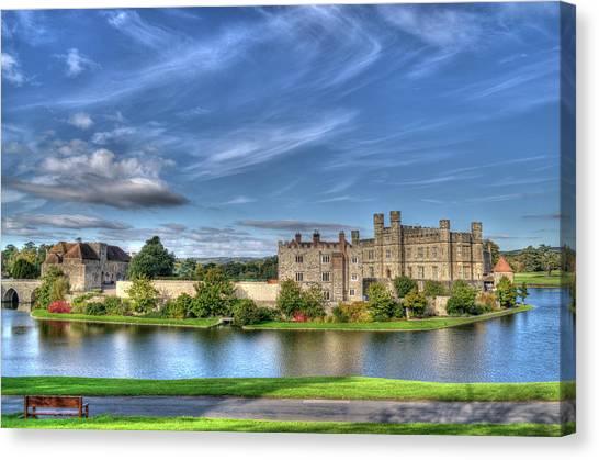 Bench View Of Leeds Castle Canvas Print