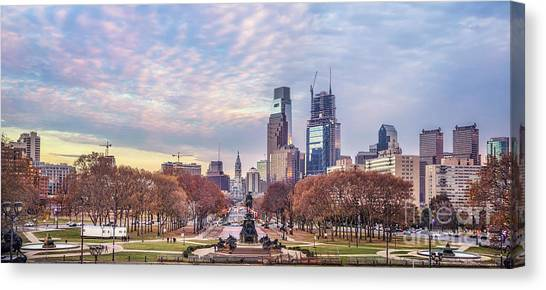 Philadelphia Phillies Canvas Print - Beneath The Blushing Skies by Evelina Kremsdorf
