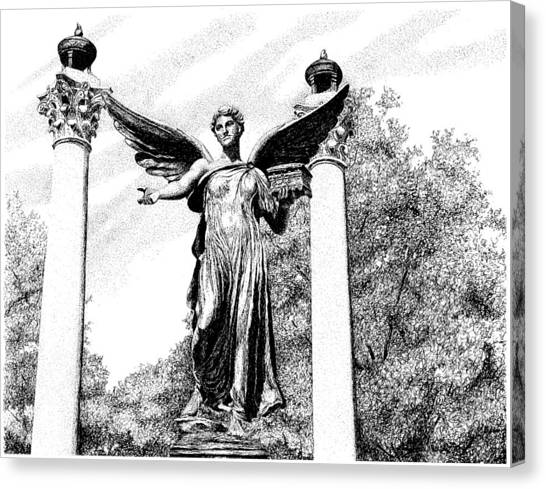 Ball State University Canvas Print - Beneficence Statue, Ball State University, Muncie, Indiana by Stephanie Huber