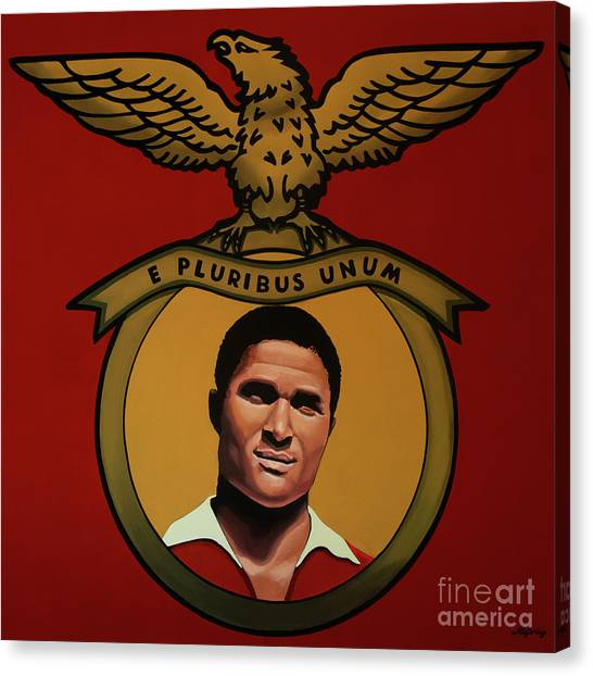 Soccer Players Canvas Print - Benfica Lisbon Painting by Paul Meijering