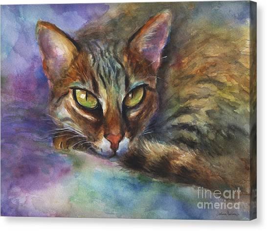Bengals Canvas Print - Bengal Cat Watercolor Art Painting by Svetlana Novikova