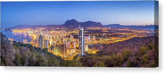 Canvas Print featuring the photograph Benidorm At Sunrise, Spain. by Gary Gillette
