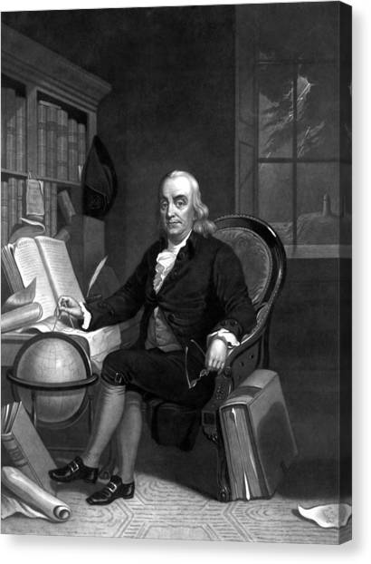 Scientists Canvas Print - Benjamin Franklin -- The Scientist by War Is Hell Store