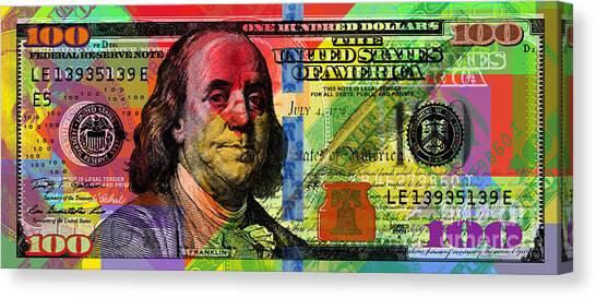Benjamin Franklin $100 Bill - Full Size Canvas Print
