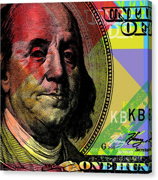 Money Canvas Print - Benjamin Franklin - $100 Bill by Jean luc Comperat