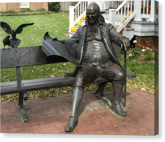 Benjamin Franklin In Our Town Canvas Print by Anne-Elizabeth Whiteway
