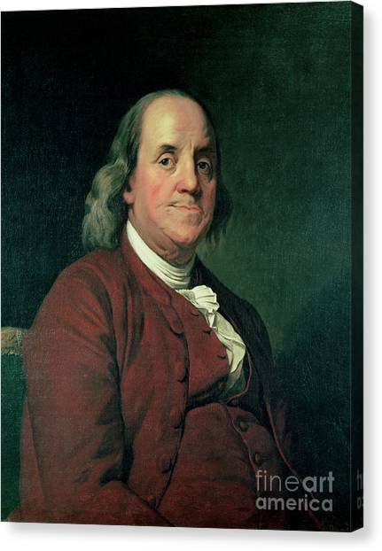 Printers Canvas Print - Benjamin Franklin by Joseph Wright of Derby