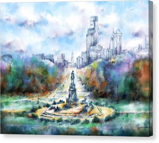 Philadelphia Skyline Canvas Print - Benjamin Franklin Parkway 2 by Bekim Art
