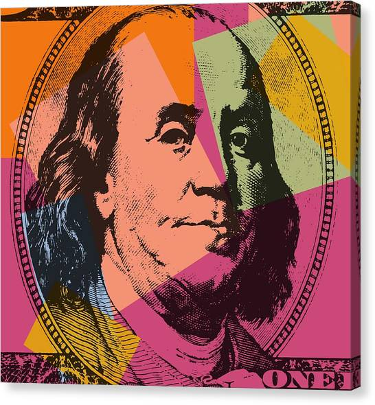 Ben Franklin Canvas Print - Benjamin Franklin Pop Art by Dan Sproul