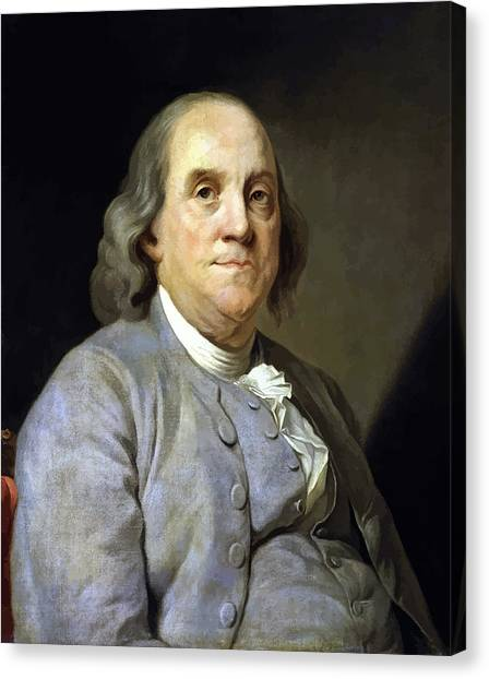 Patriot Canvas Print - Benjamin Franklin Painting by War Is Hell Store