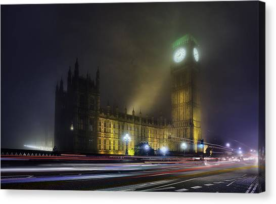Palace Of Westminster Canvas Print - Ben's Fog by Thomas Zimmerman