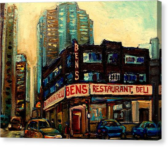 The Main Montreal Canvas Print - Bens Restaurant Deli by Carole Spandau