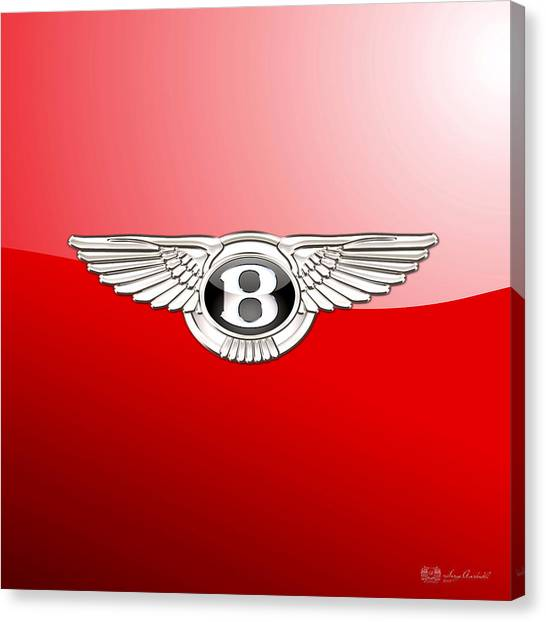 Automobiles Canvas Print - Bentley 3 D Badge On Red by Serge Averbukh