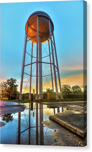 Northwest Canvas Print - Bentonville Arkansas Water Tower After Rain by Gregory Ballos