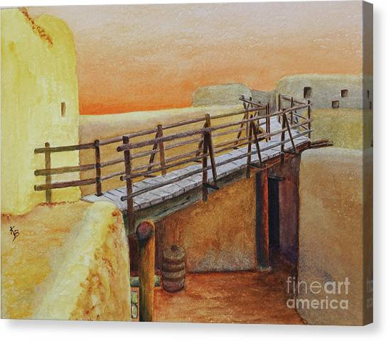 Canvas Print featuring the painting Bent's Old Fort by Karen Fleschler