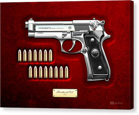 Gun Control Canvas Print - Beretta 92fs Inox Over Red Velvet by Serge Averbukh