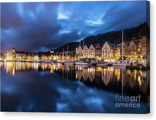 Bergen Harbor Canvas Print