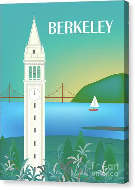 Uc Berkeley Canvas Print - Sather Tower, Uc Berkeley, California Vertical Scene by Karen Young