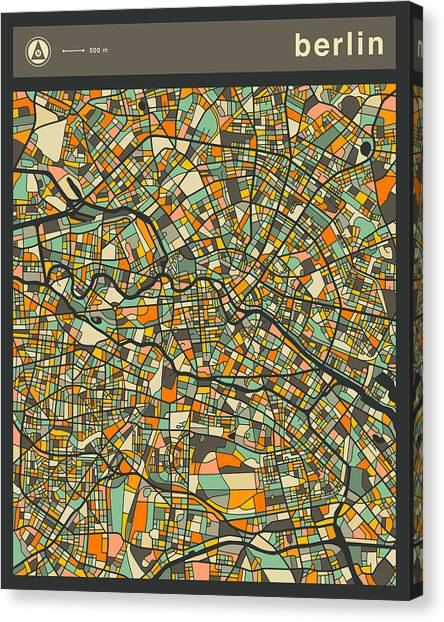 Berlin Canvas Print - Berlin City Map by Jazzberry Blue