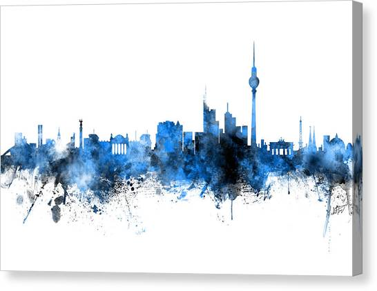 Berlin Canvas Print - Berlin Germany Skyline Blue Signed by Michael Tompsett