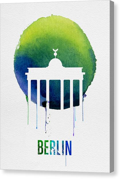 Berlin Canvas Print - Berlin Landmark Blue by Naxart Studio