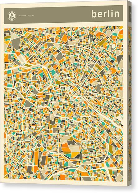 Berlin Canvas Print - Berlin Map 2 by Jazzberry Blue