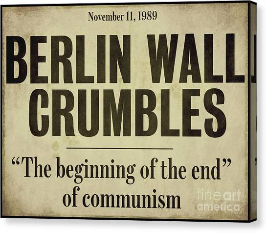 Berlin Wall Canvas Print - Berlin Wall Newspaper Headline by Mindy Sommers