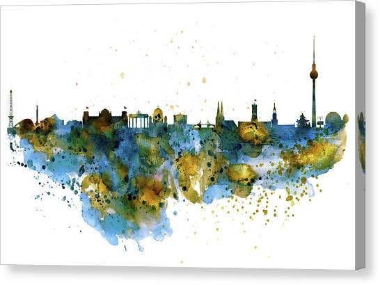 Berlin Wall Canvas Print - Berlin Watercolor Skyline by Marian Voicu