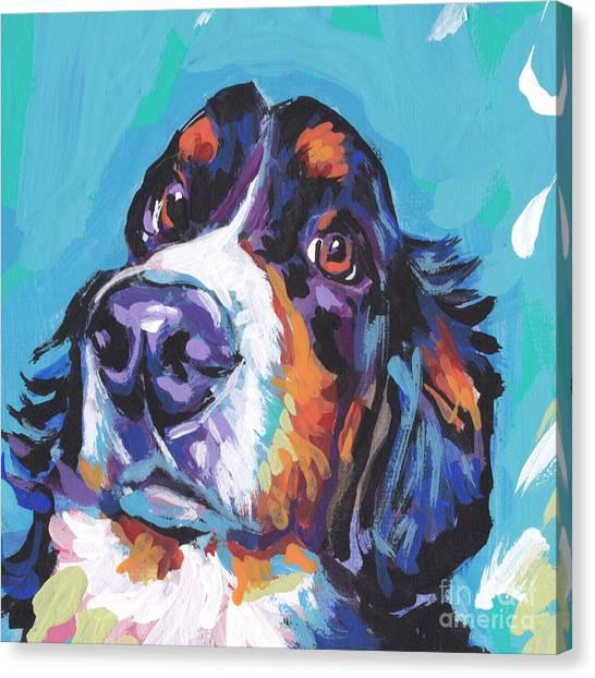 Bernese Mountain Dogs Canvas Print - Bern Baby Bern by Lea S