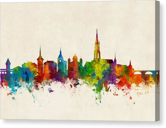 Switzerland Canvas Print - Bern Switzerland Skyline by Michael Tompsett