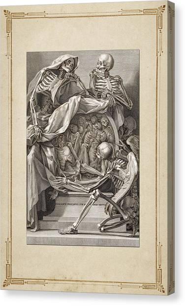 Retro Decor Canvas Print - Bernardino Genga - Allegorical Emblems Of Death by Serge Averbukh