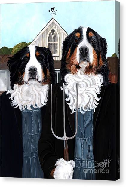 Bernese Mountain Dogs Canvas Print - Berner Gothic - Bernese Mountain Dog by Liane Weyers