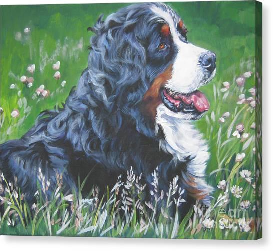 Bernese Mountain Dogs Canvas Print - Bernese Mountain Dog In Wildflowers by Lee Ann Shepard