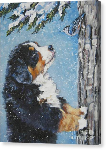 Bernese Mountain Dogs Canvas Print - bernese Mountain Dog puppy and nuthatch by Lee Ann Shepard