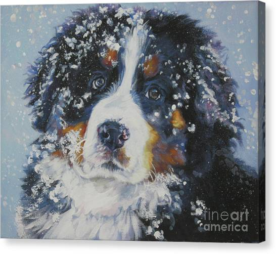 Bernese Mountain Dogs Canvas Print - Bernese Mountain Dog Puppy by Lee Ann Shepard