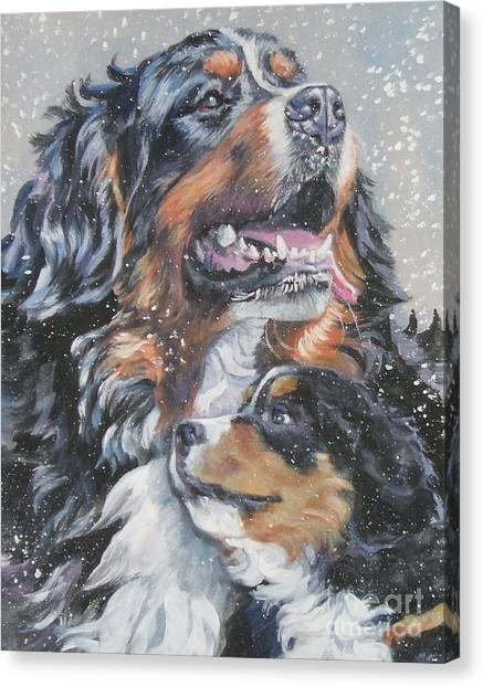 Bernese Mountain Dogs Canvas Print - Bernese Mountain Dog With Pup by Lee Ann Shepard