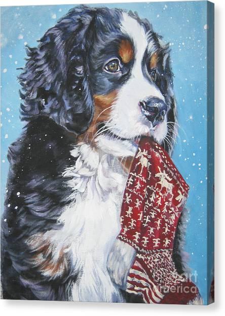 Bernese Mountain Dogs Canvas Print - Bernese Mountain Dog Xmas Stocking by Lee Ann Shepard