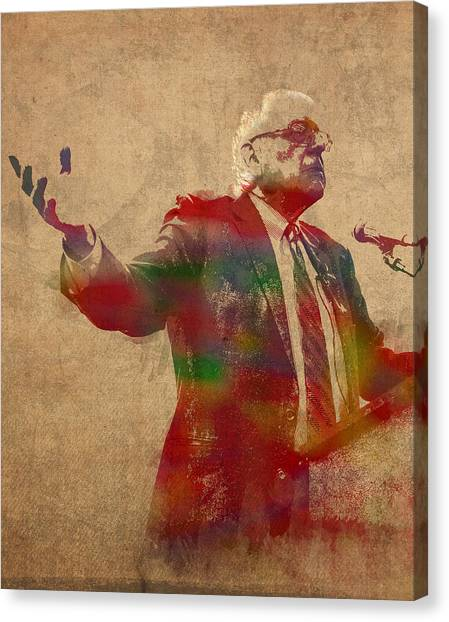 Bernie Sanders Canvas Print - Bernie Sanders Watercolor Portrait by Design Turnpike