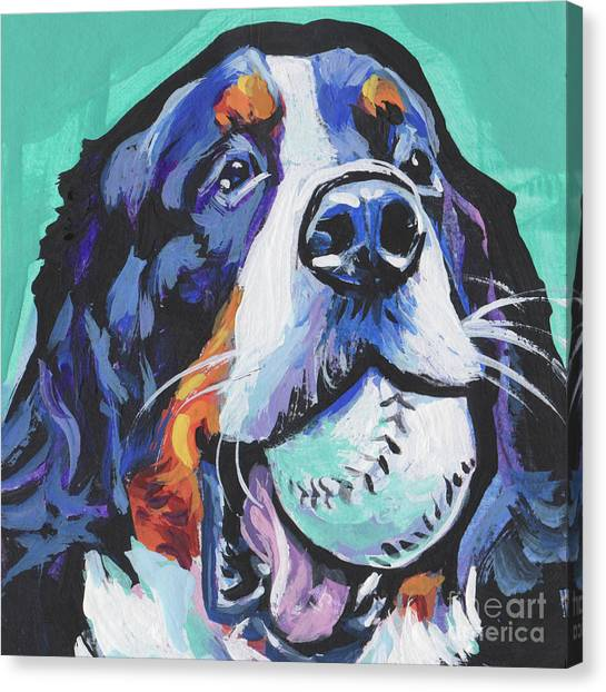 Bernese Mountain Dogs Canvas Print - Berny Ball Throw by Lea