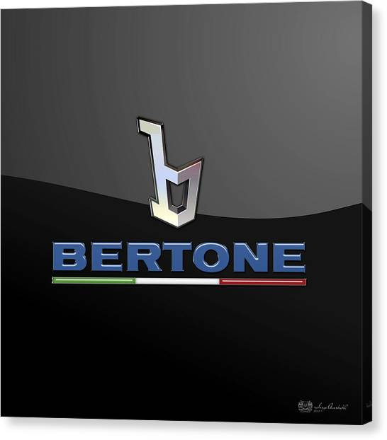 Automobiles Canvas Print - Bertone - 3 D Badge On Black by Serge Averbukh